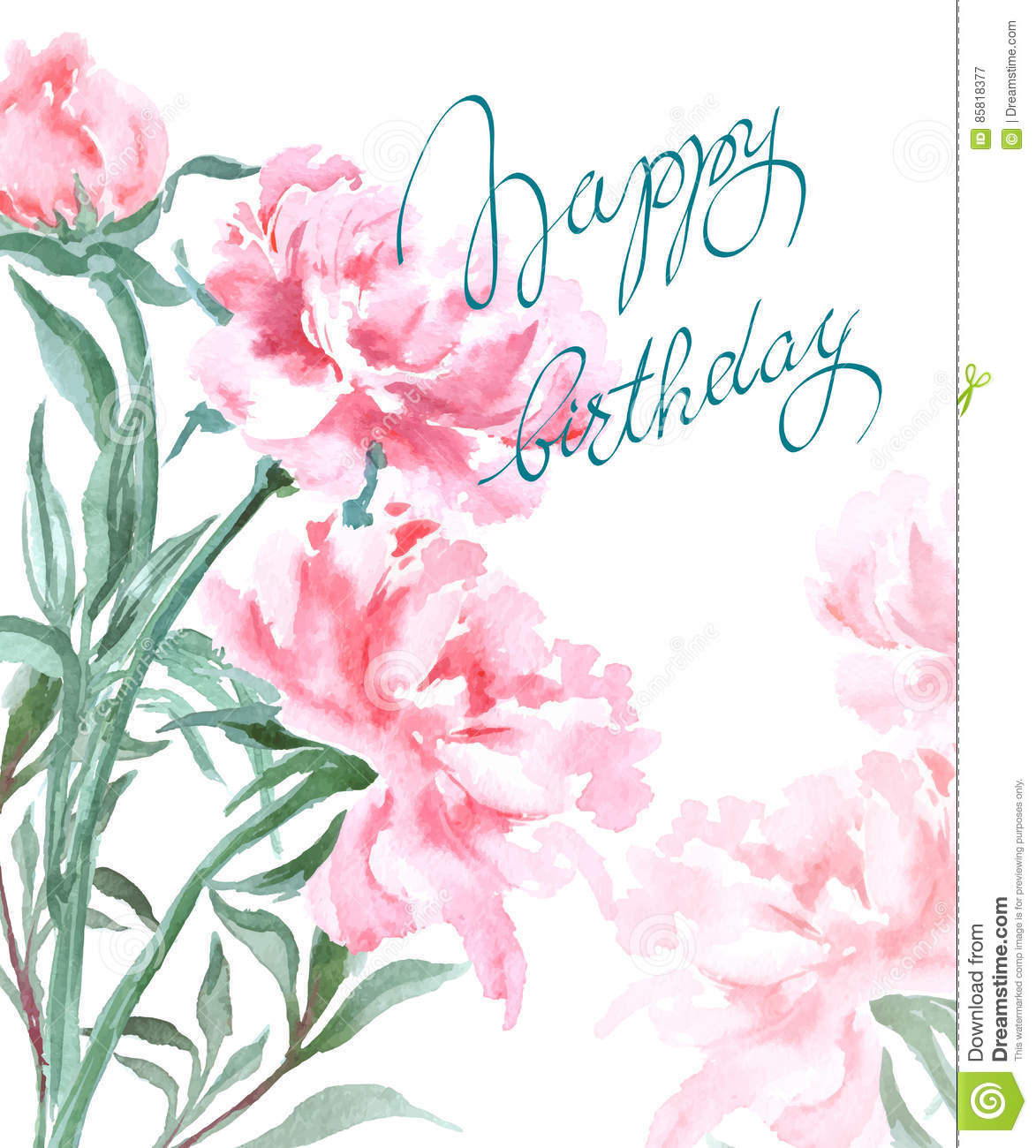 Birthday Card Watercolor Flowers Peonies Handmade Greeting Cards Spring Composition