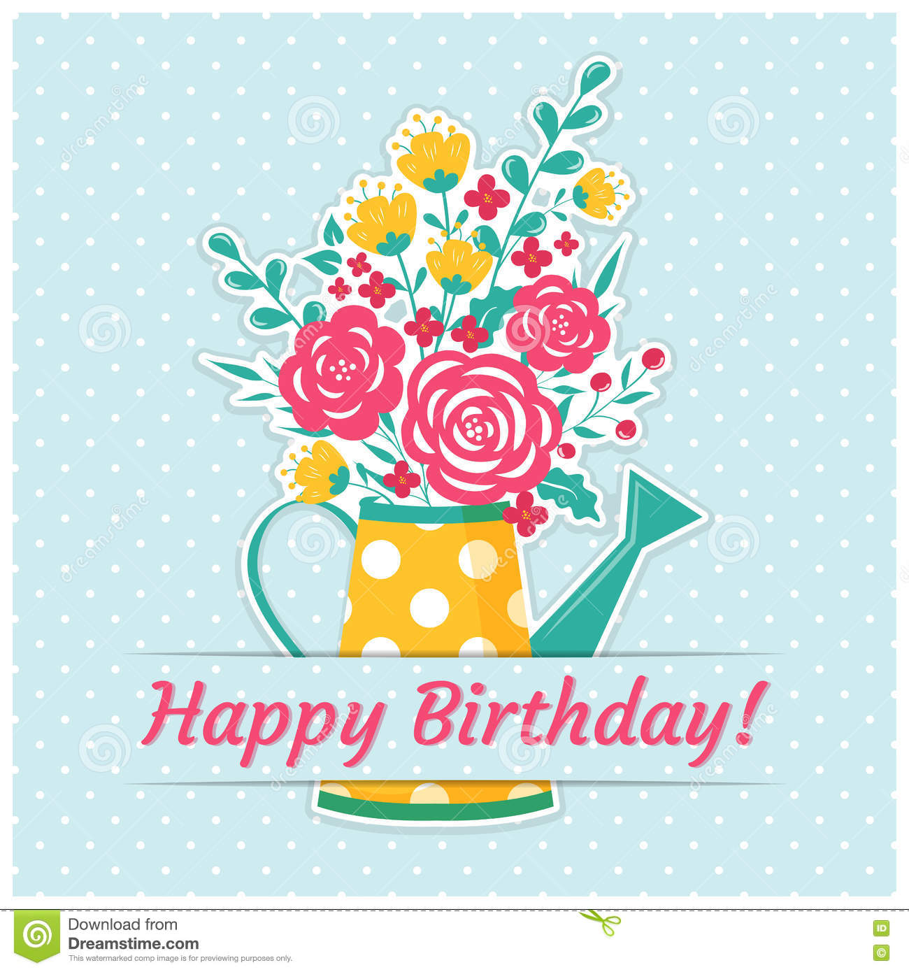 Birthday Card With Watering Can And Flowers Stock Vector