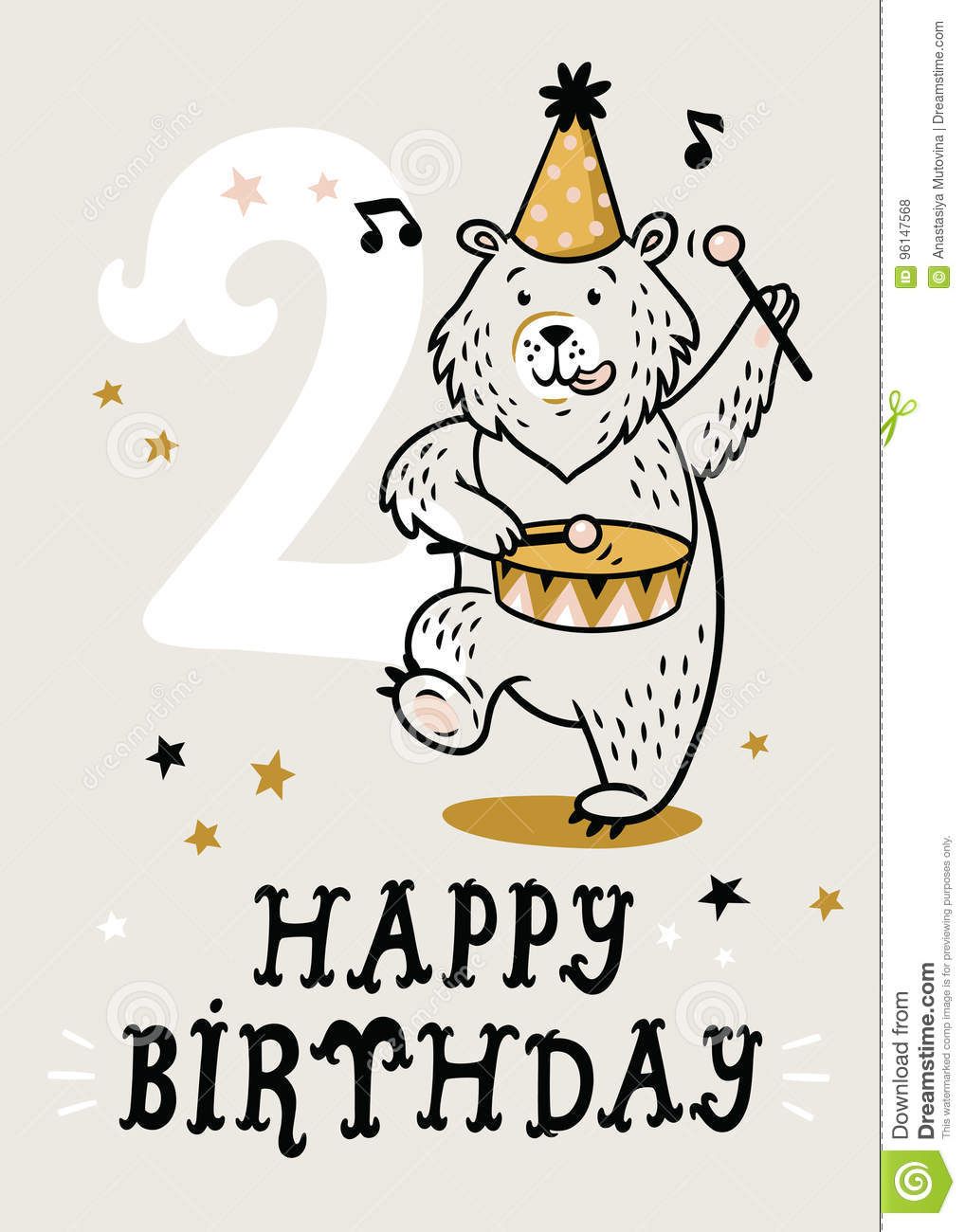 2 Year Baby Birthday Card Circus Party With Bear Vector Illustration