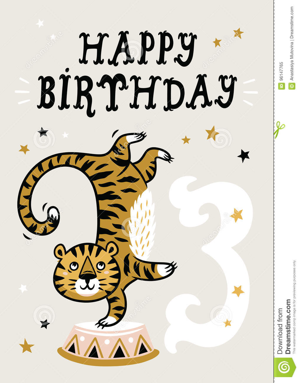 3 Year Baby Birthday Card Circus Party With Tiger Vector Illustration