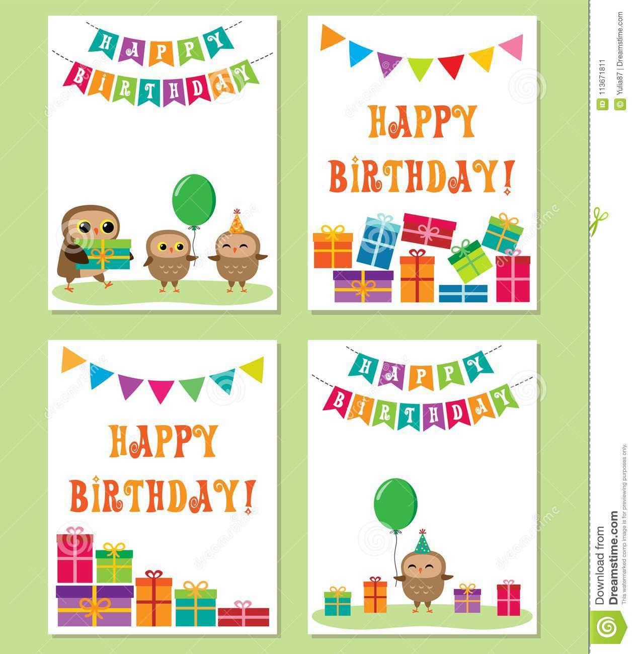 Birthday Cards With Cute Owls Vector Editable Templates For Party Invitation Or Postcard