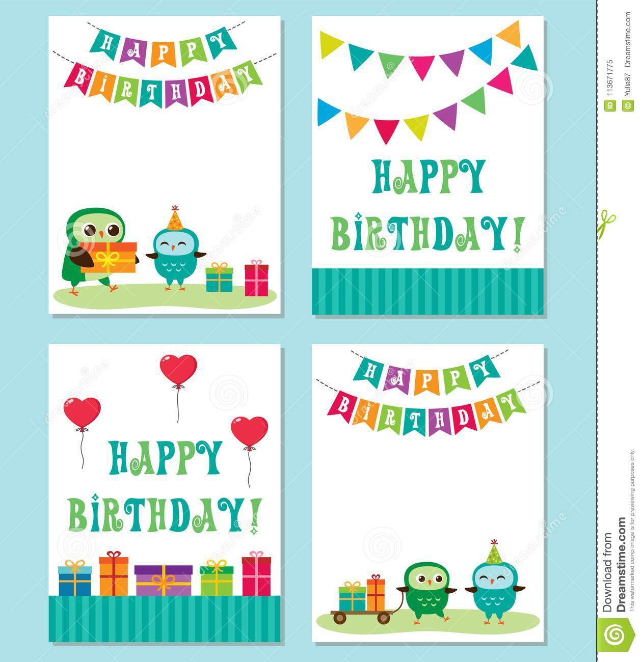 Birthday Cards With Cute Owls Vector Editable Templates For Party Invitation Or Postcard In Blue Color