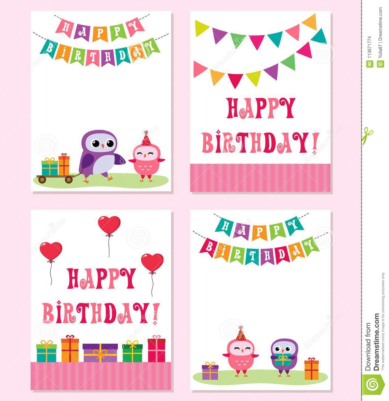 Birthday Cards With Cute Owls Vector Editable Templates For Party Invitation Or Postcard In Pink Color
