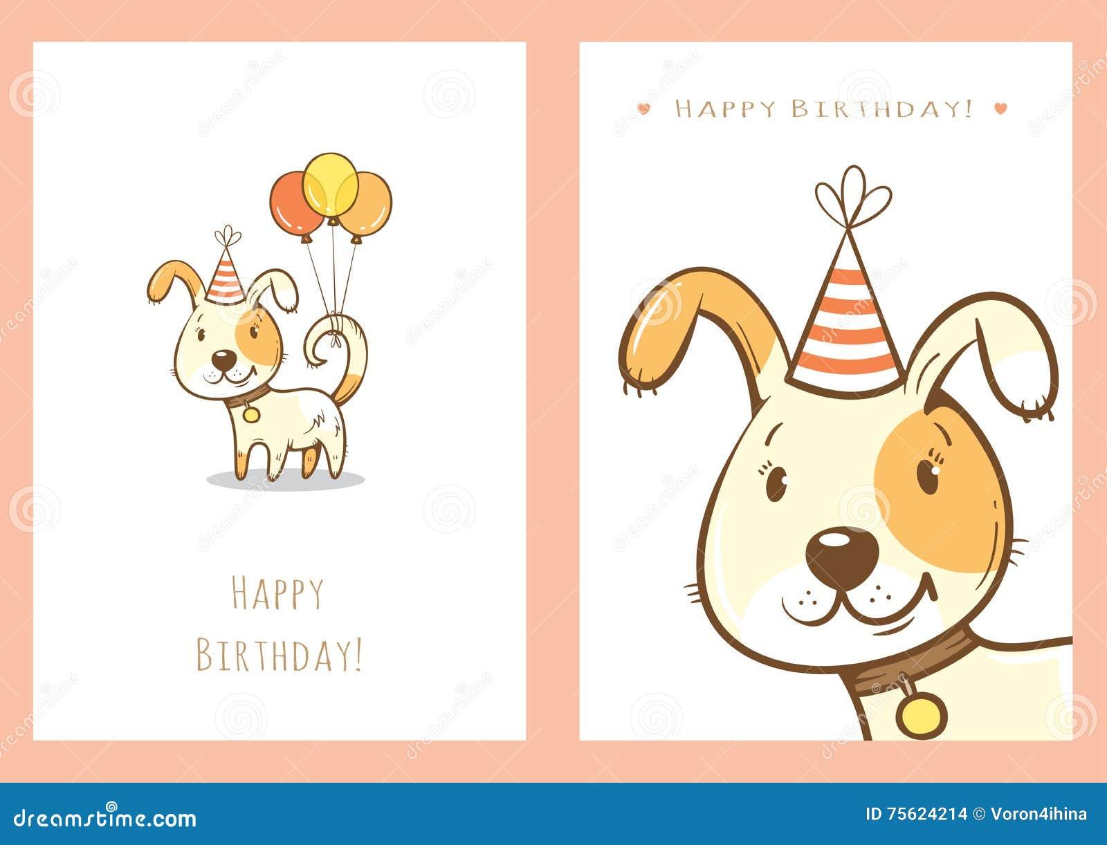 Birthday Cards Set Stock Vector Illustration Of Postcard