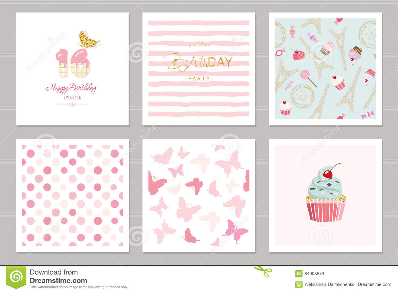 download birthday cards set for teenage girls including seamless patterns in pastel pink sweet - Teenage Birthday Cards