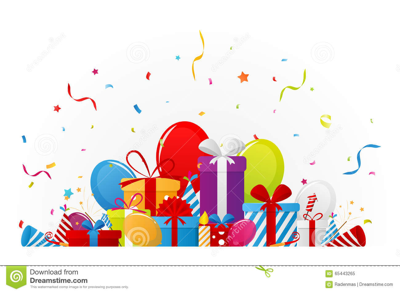birthday celebration background with party elements stock