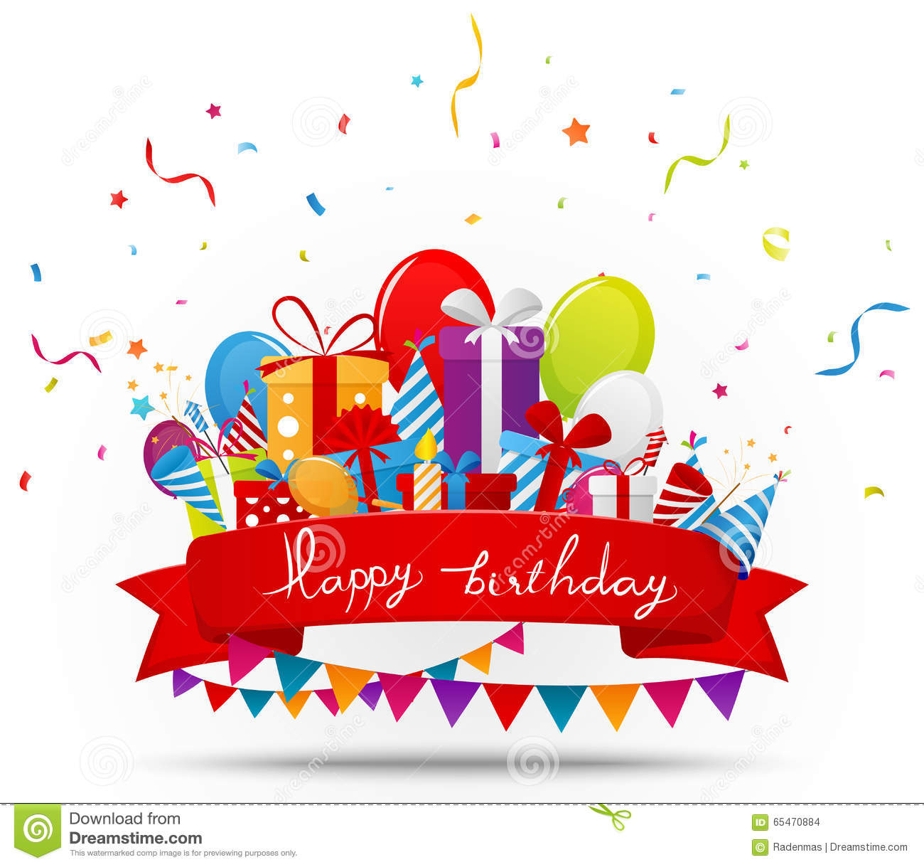 birthday celebration background with party elements stock vector