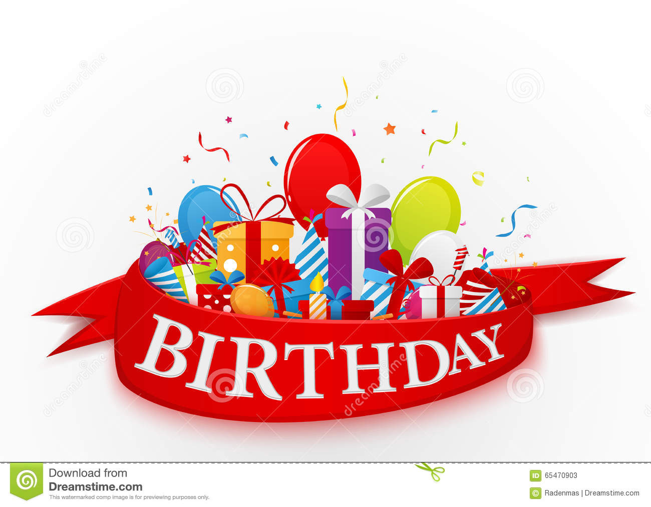 Birthday Celebration Background With Party Elements Stock Vector - Image: 65470903