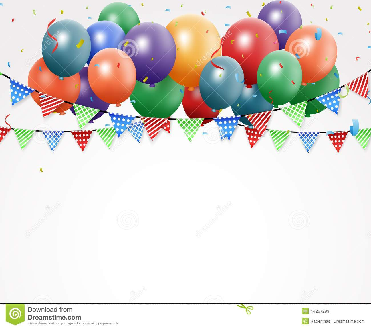 Birthday celebration design with balloon and confetti