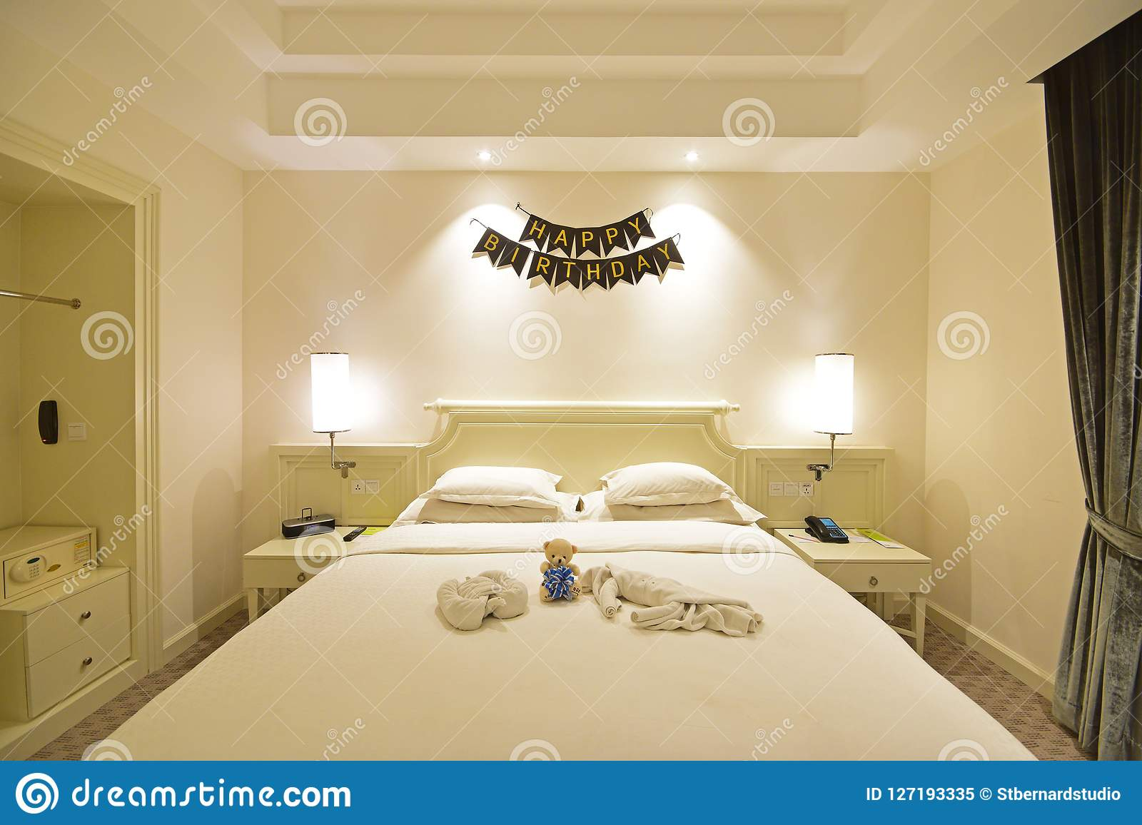 Birthday Celebration In A Hotel Room Suite With Decoration On The