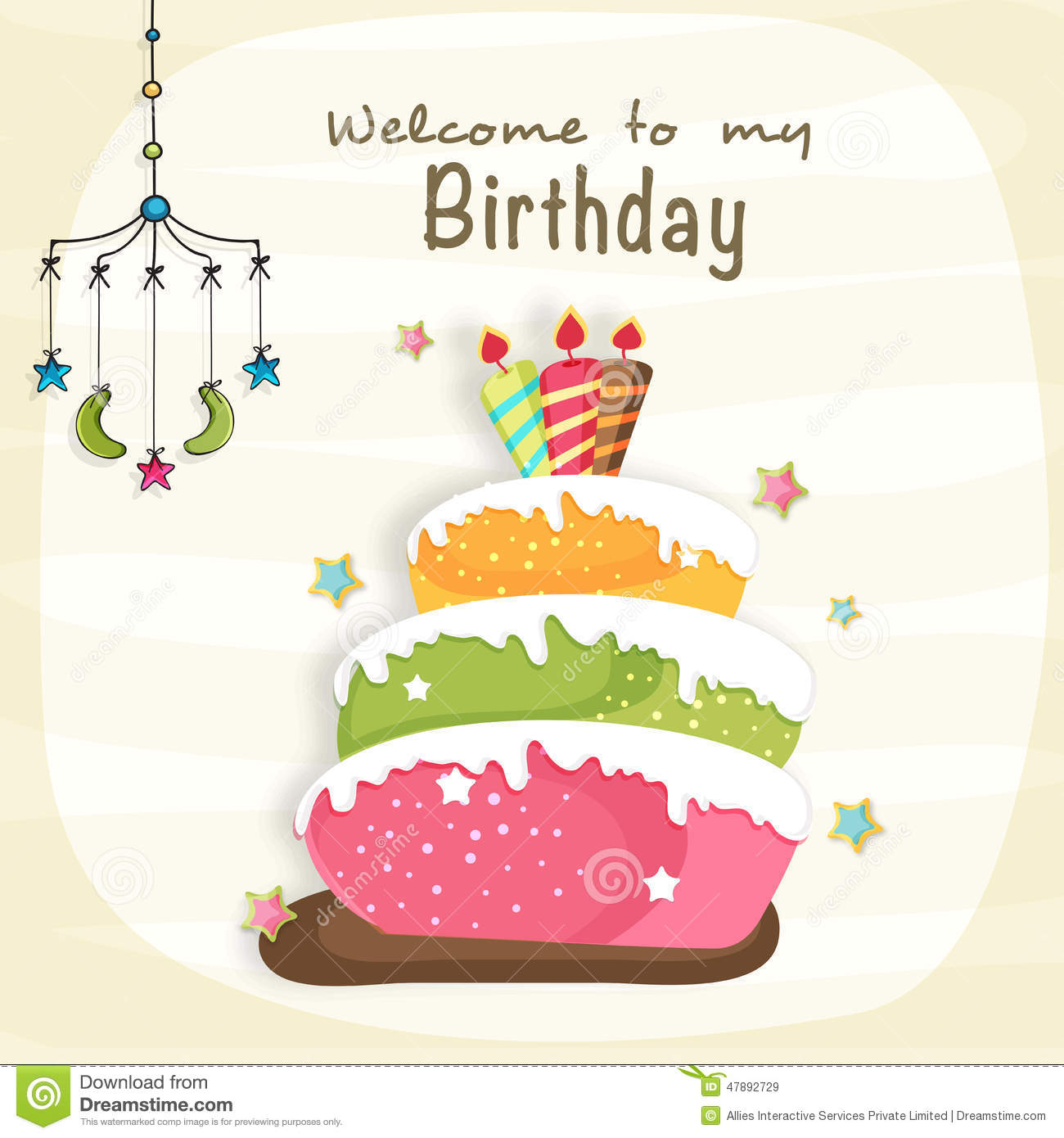 Birthday Celebration Invitation Card Design Stock Illustration