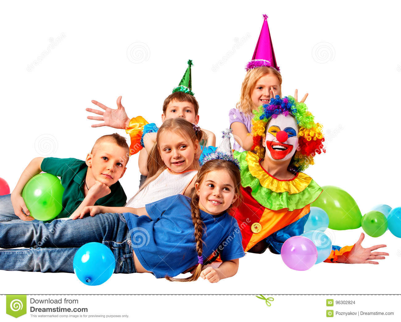 Birthday Child Clown Playing With Children