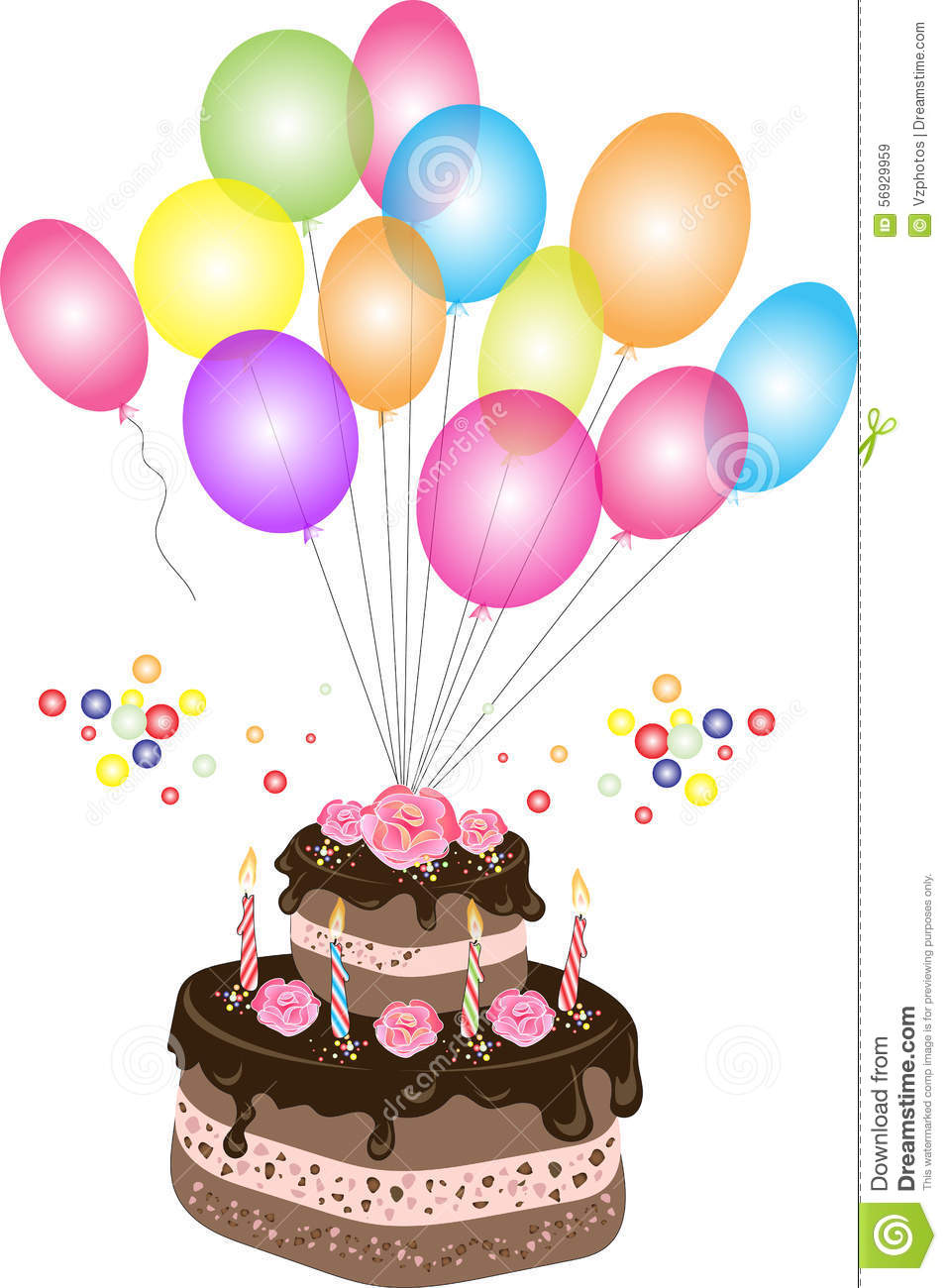Birthday Chocolate Cake With Balloon Stock Vector Illustration of