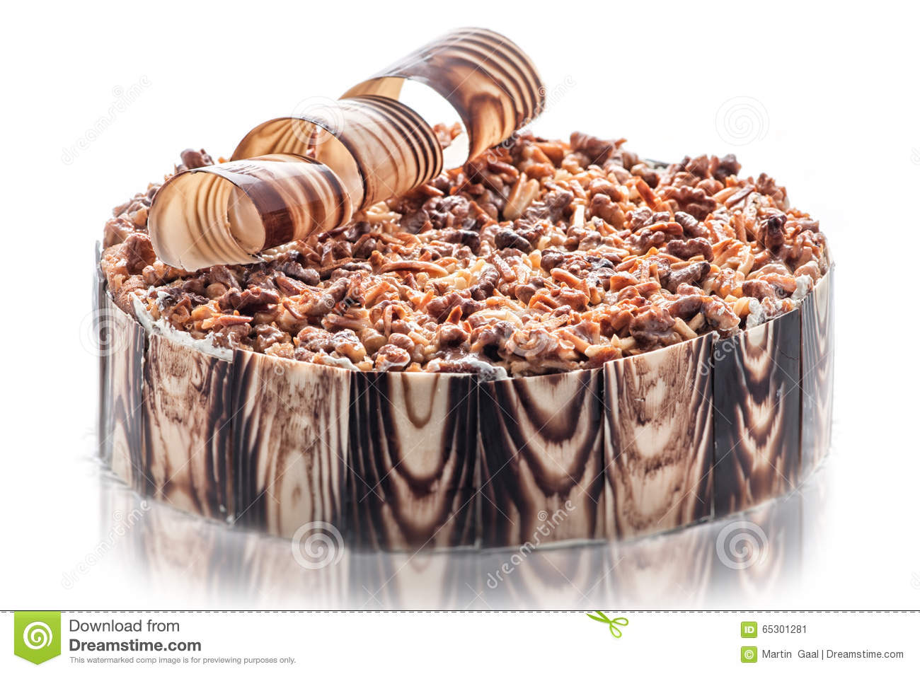 birthday chocolate cake with nuts and chocolate decoration piece of cream cake patisserie. Black Bedroom Furniture Sets. Home Design Ideas