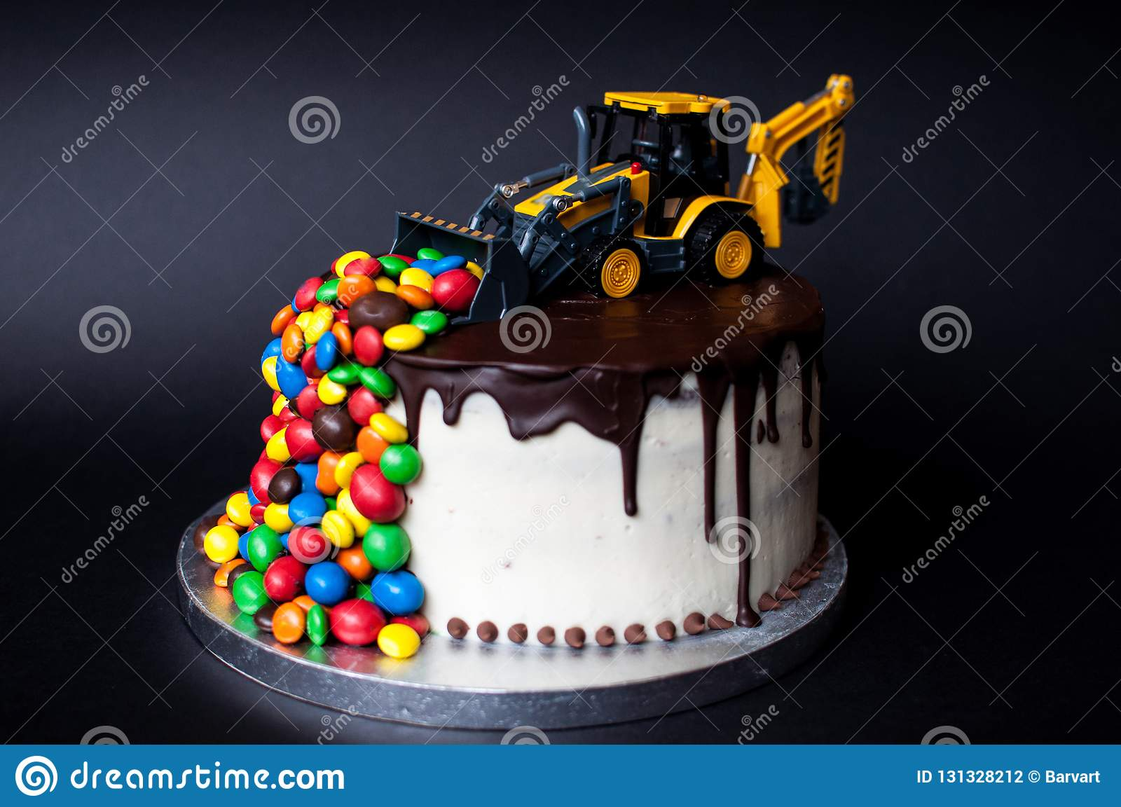 Tremendous Birthday Chocolate Cake With Tractor And Candy On Top Stock Photo Personalised Birthday Cards Beptaeletsinfo