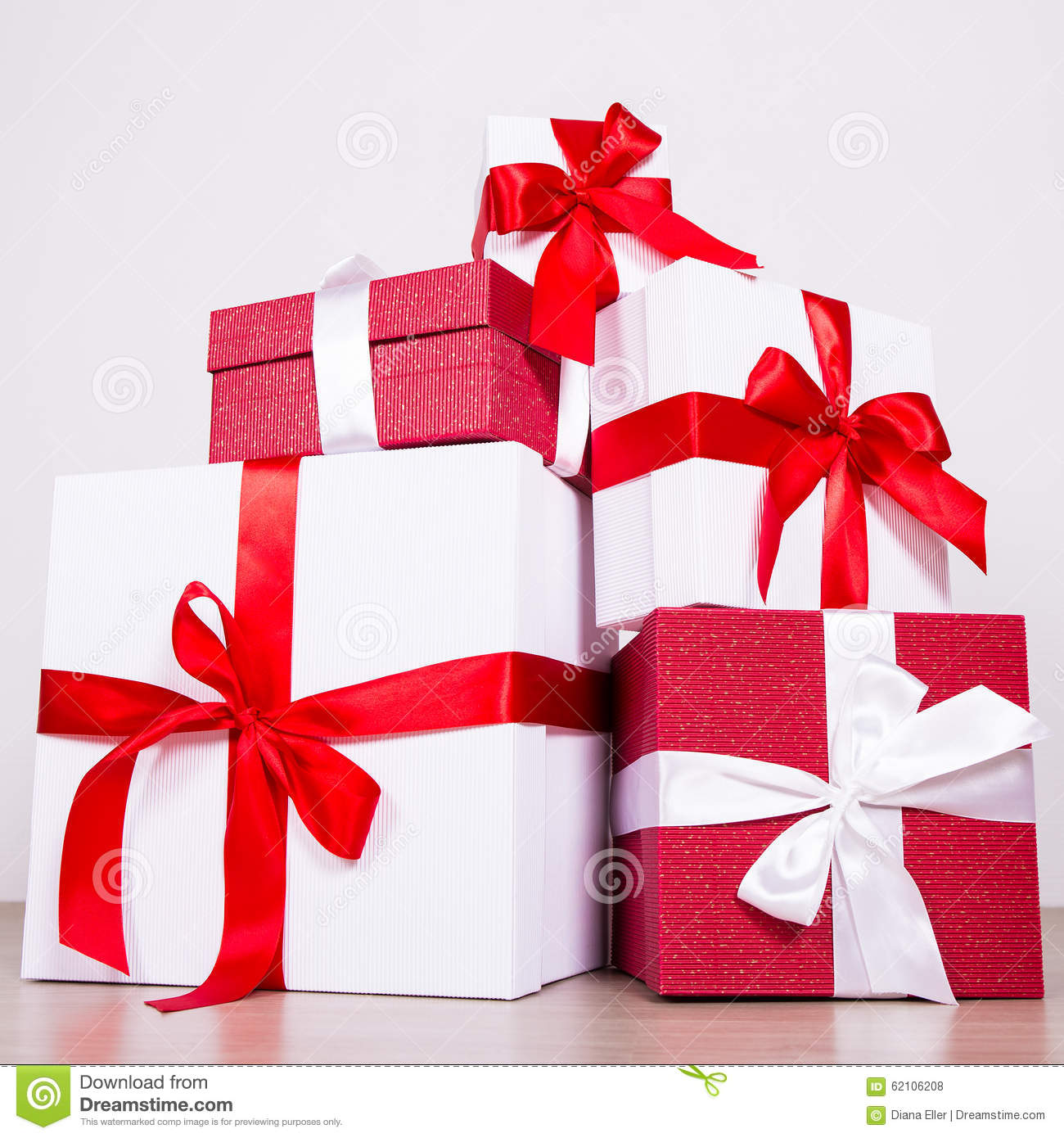 Birthday Or Christmas Concept Red And White Gift Boxes Stock Photo