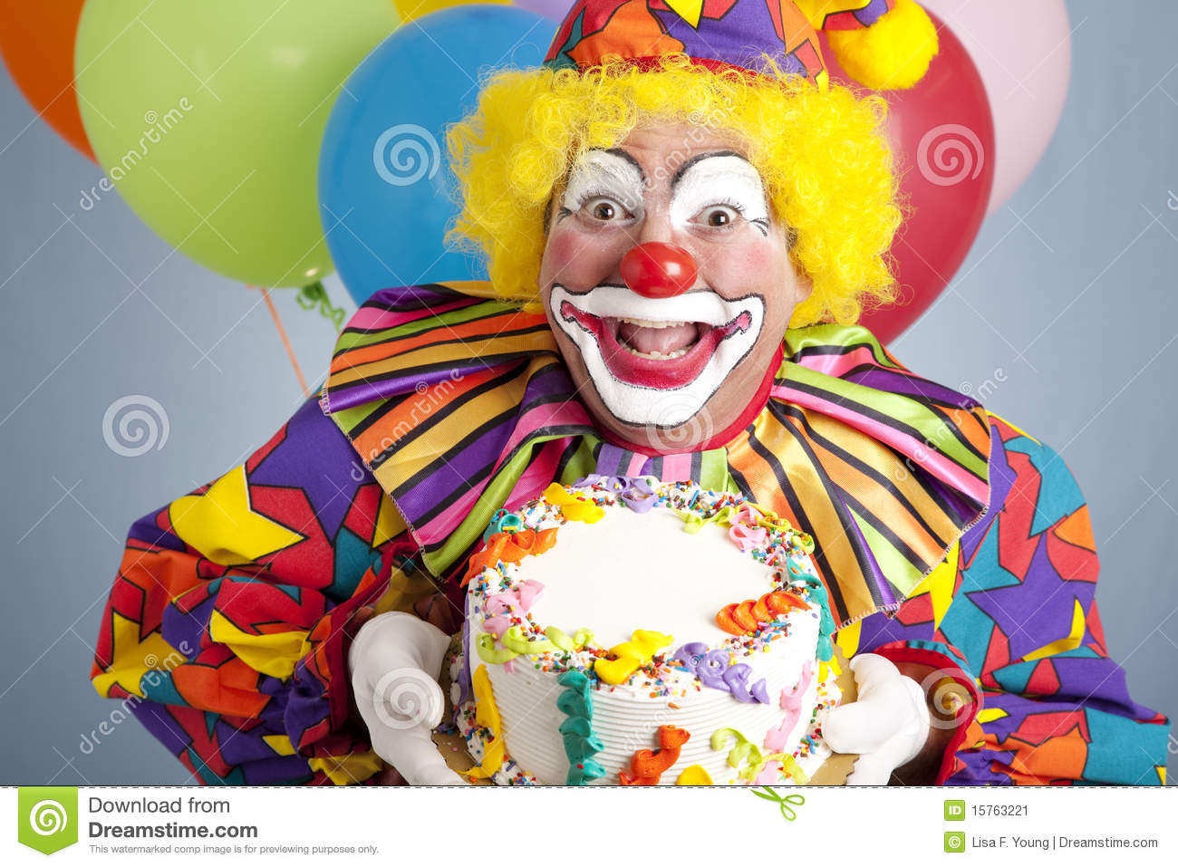 Birthday Clown With Blank Cake Stock Image Image of frosting
