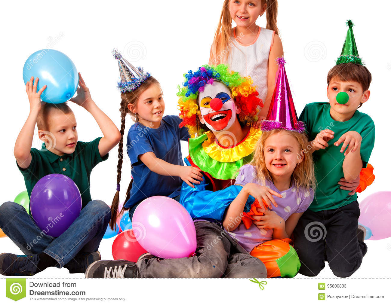 Birthday Child Clown Playing With Children Kid Wearing Party Hat Hold Balloons Happiest Fun Of Group People Pose For Camera On White Background