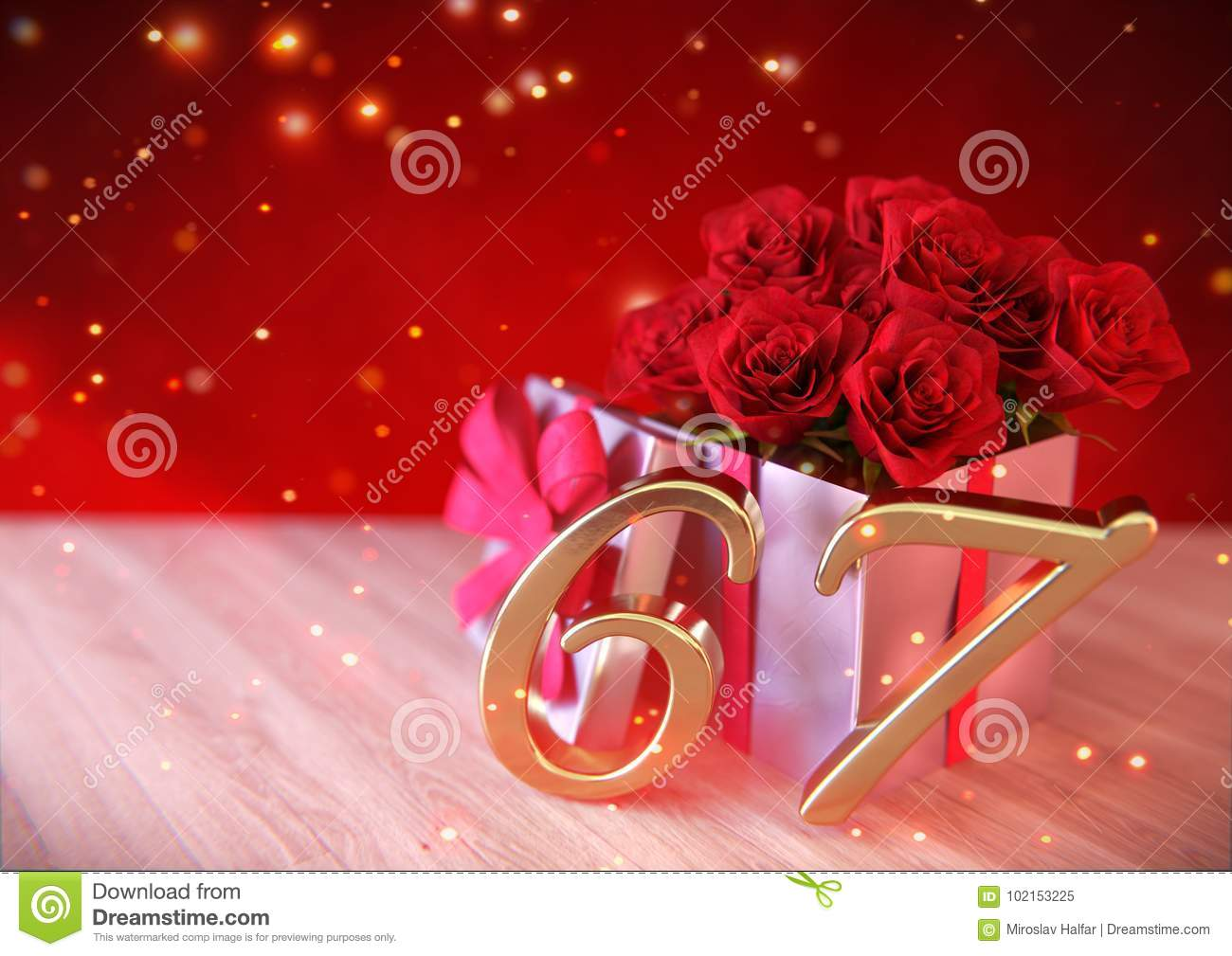 Birthday Concept With Red Roses In Gift On Wooden Desk. Sixty ...
