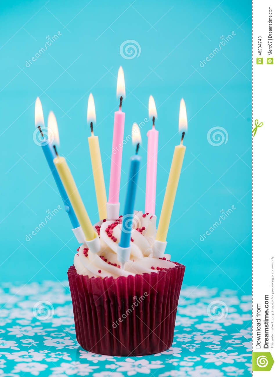 Birthday Cup Cake With Many Candles Stock Photo - Image ...