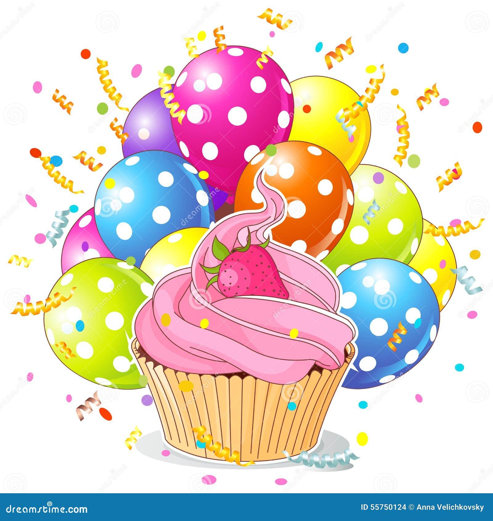 Balloon Cupcake Birthday Cake