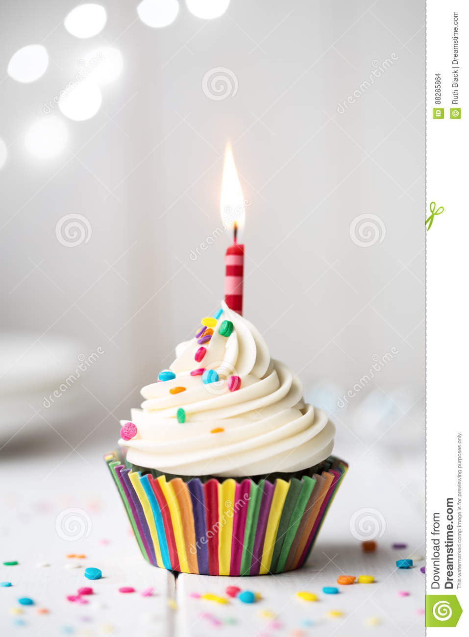 Birthday Cupcake With Candle Stock Photo Image Of