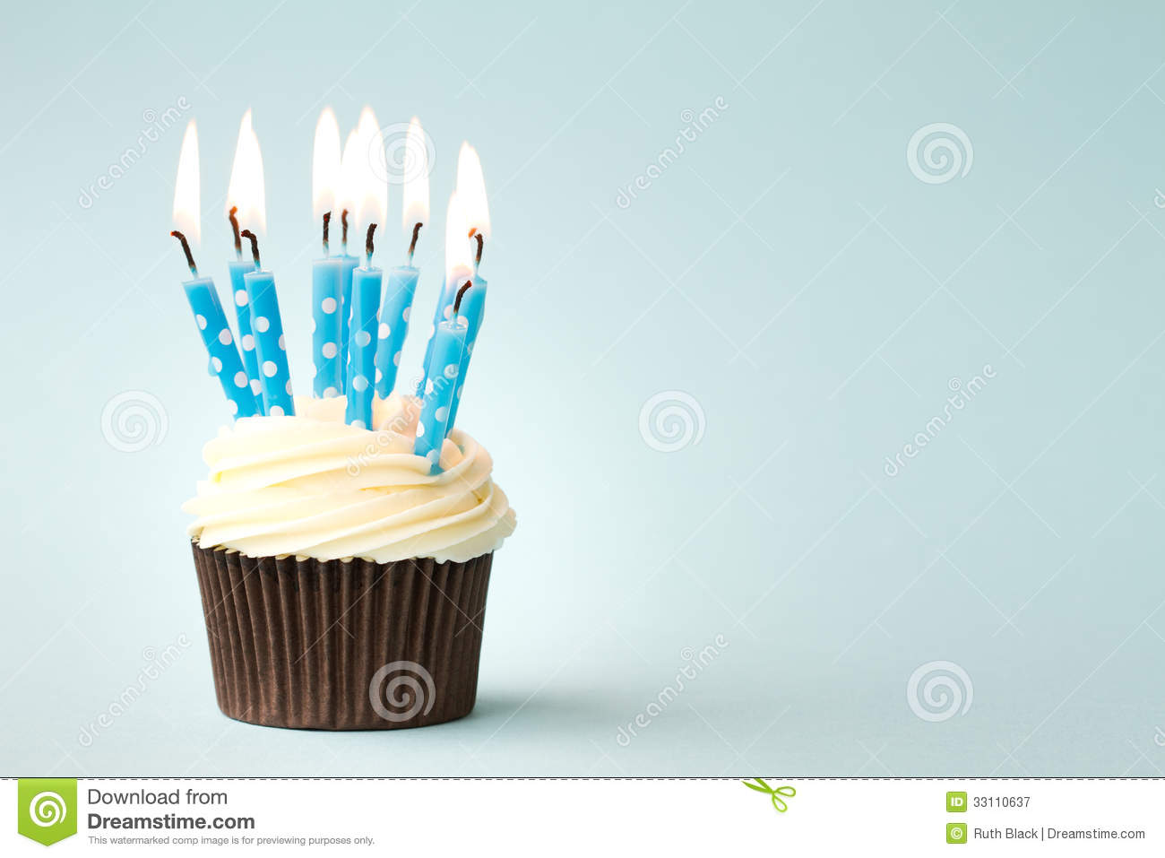 Birthday Cupcake Stock Image Image Of Birthday Candles