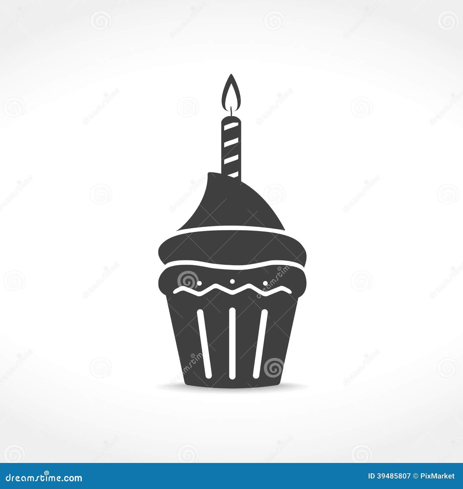 Birthday Cupcake Icon Stock Vector Image 39485807