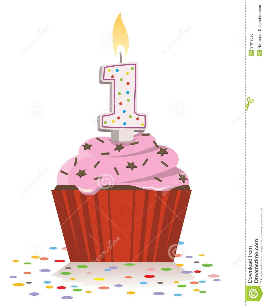 Birthday Cupcake With Lit Candle In Shape Of Number One Stock