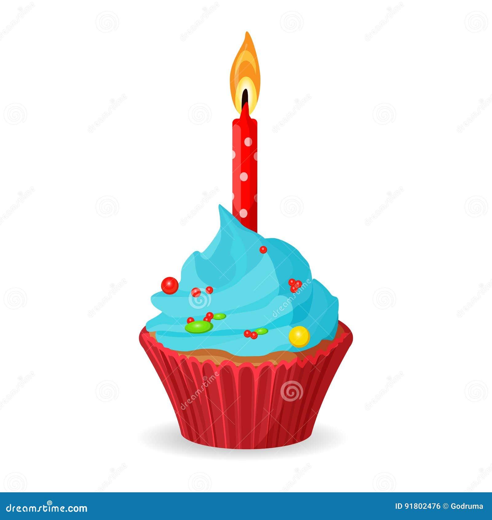 Birthday Cupcake With One Burning Candle Blue Cream Caramel