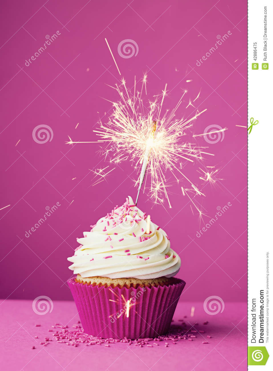 Birthday Cupcake With A Sparkler Stock Image Image Of