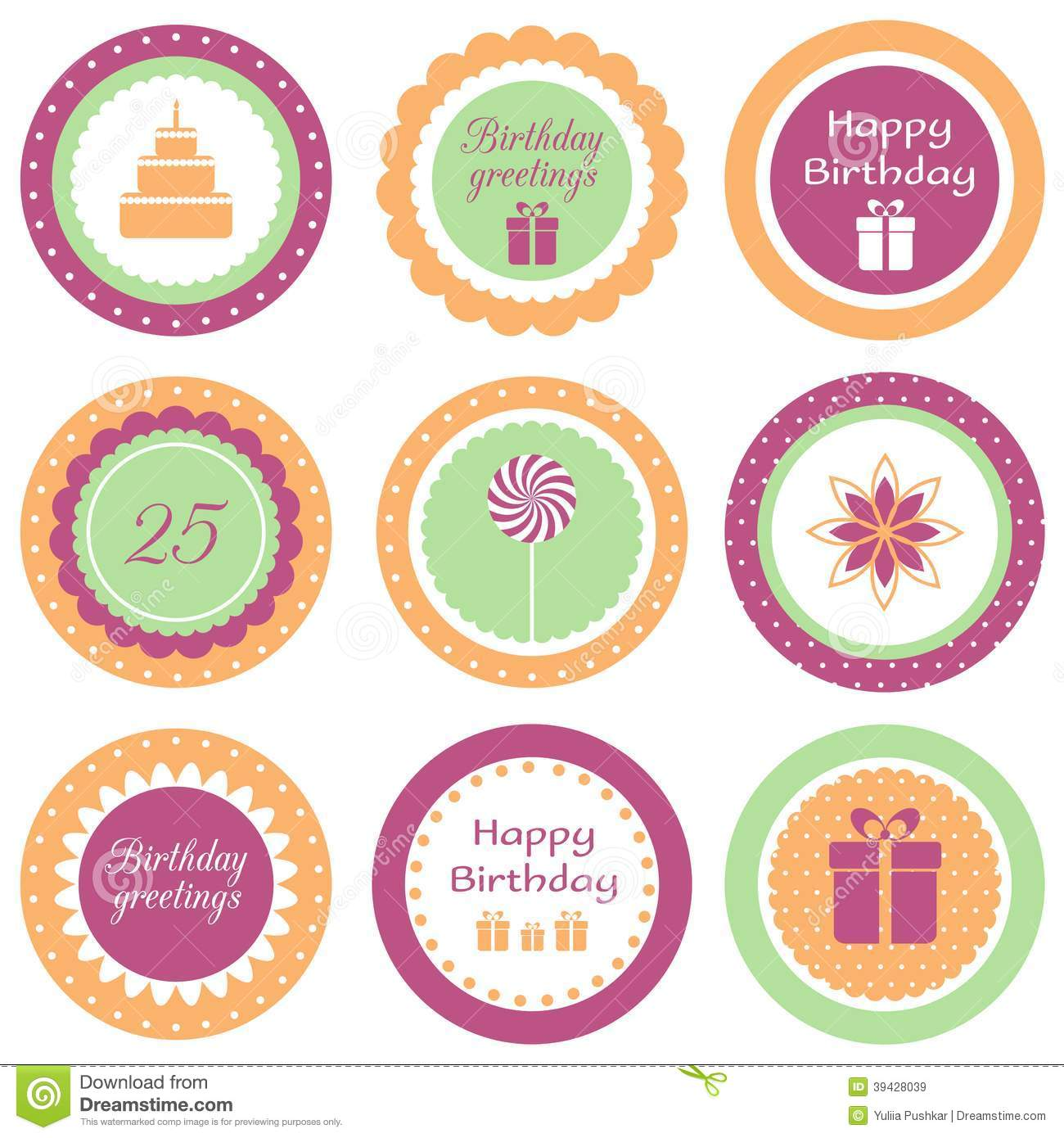Birthday Cupcake Toppers Stock Vector Image 39428039