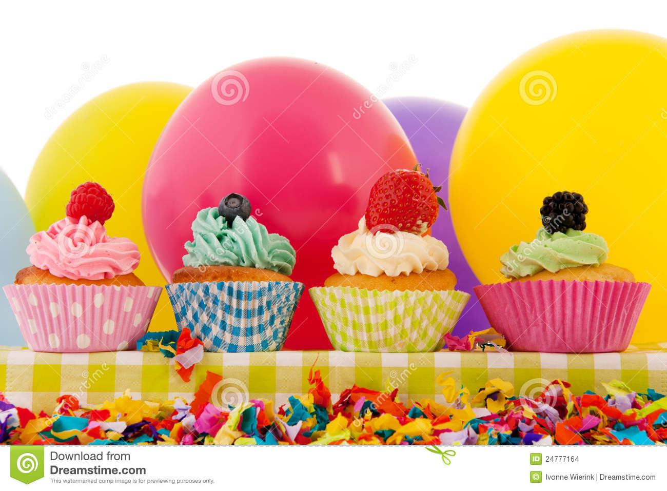 Birthday Cupcakes With Balloons