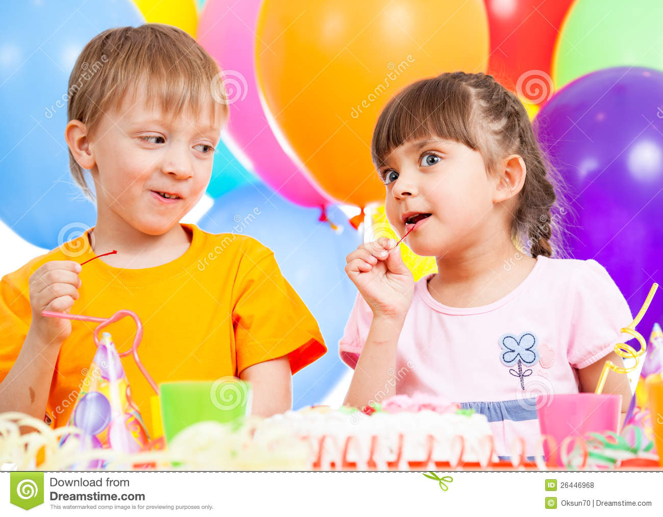 Birthday Of Cute Kids Twins Stock Photo Image Of
