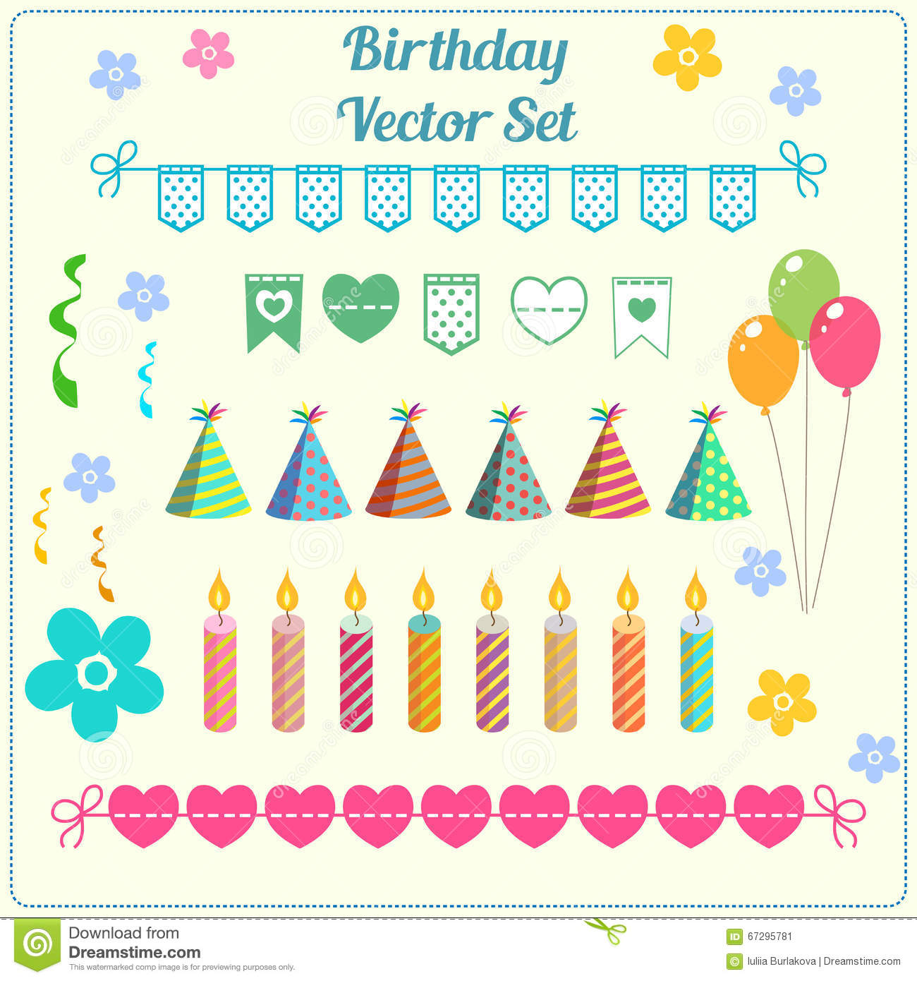 Birthday Decoration, Banner, Candle, Balloon, Hat Vector ...