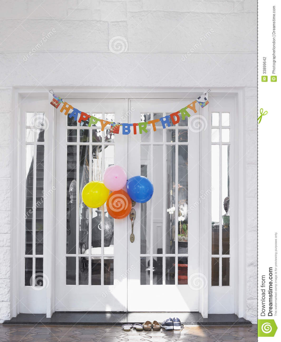 Birthday Decorations At House Stock Photo Image Of Color Footwear