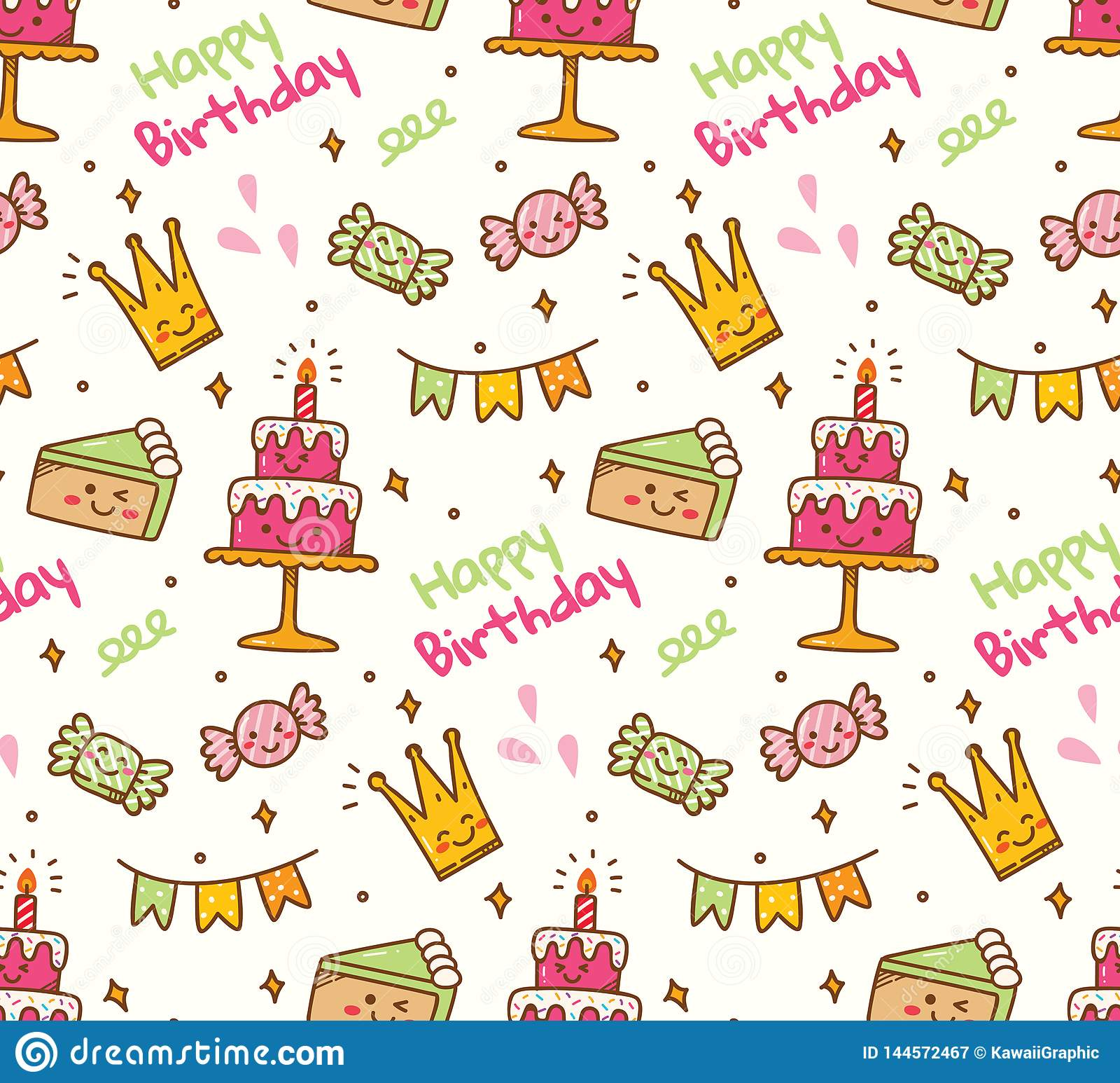 Birthday Doodle Seamless Background With Kawaii Birthday