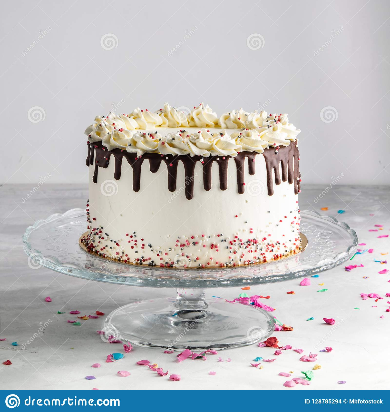 Birthday Drip Layered Cake With Chocolate Ganache And Sprinkles On A White Background Party Decor