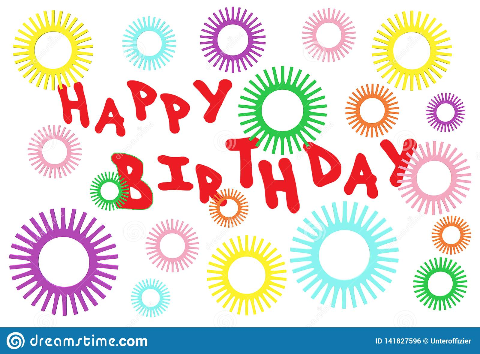 A Birthday Electronic Greeting Card With Star Sparkles And Red Fonts Stock Illustration