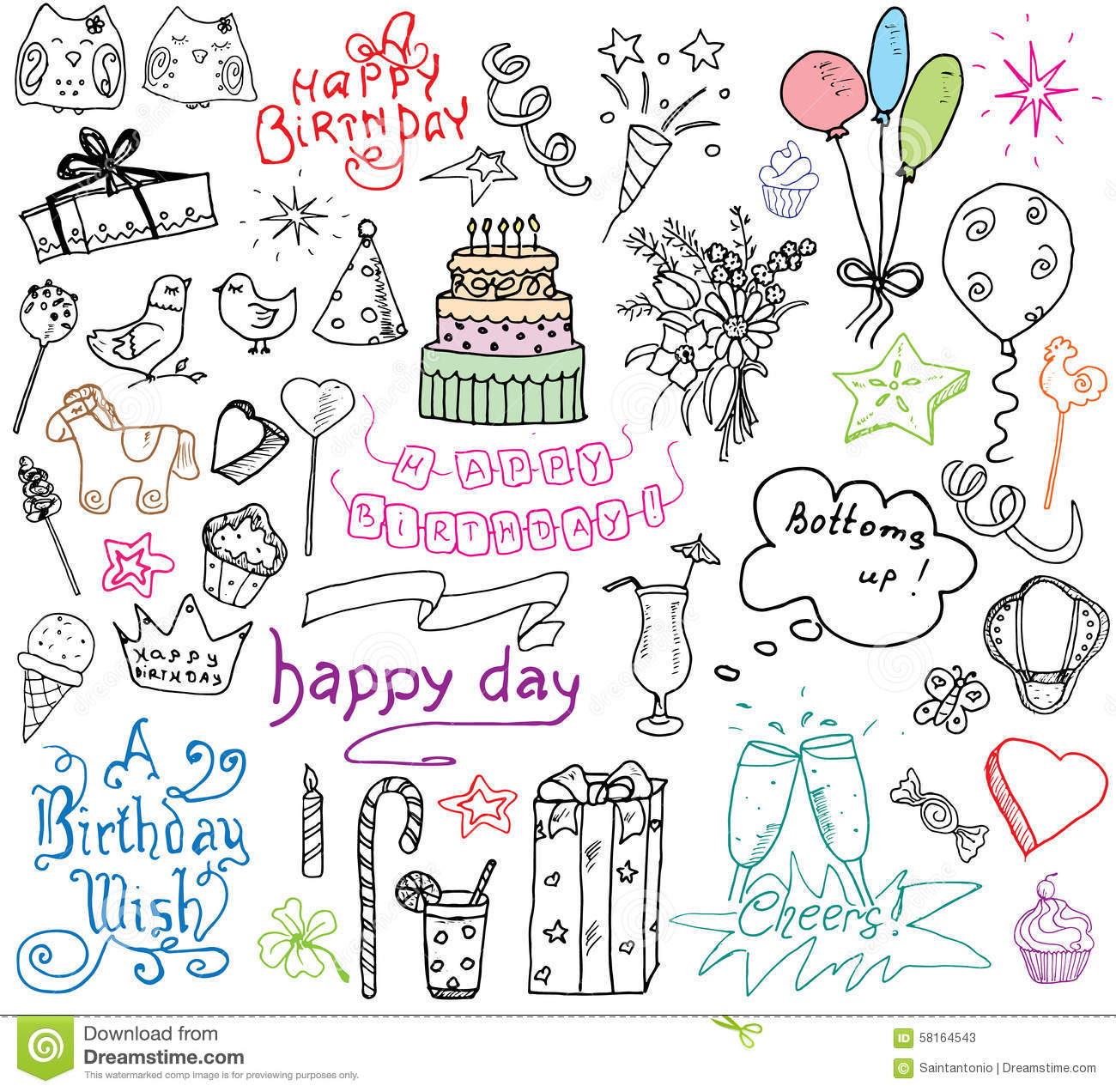 Birthday Elements Hand Drawn Set With Birthday Cake Balloons Gift