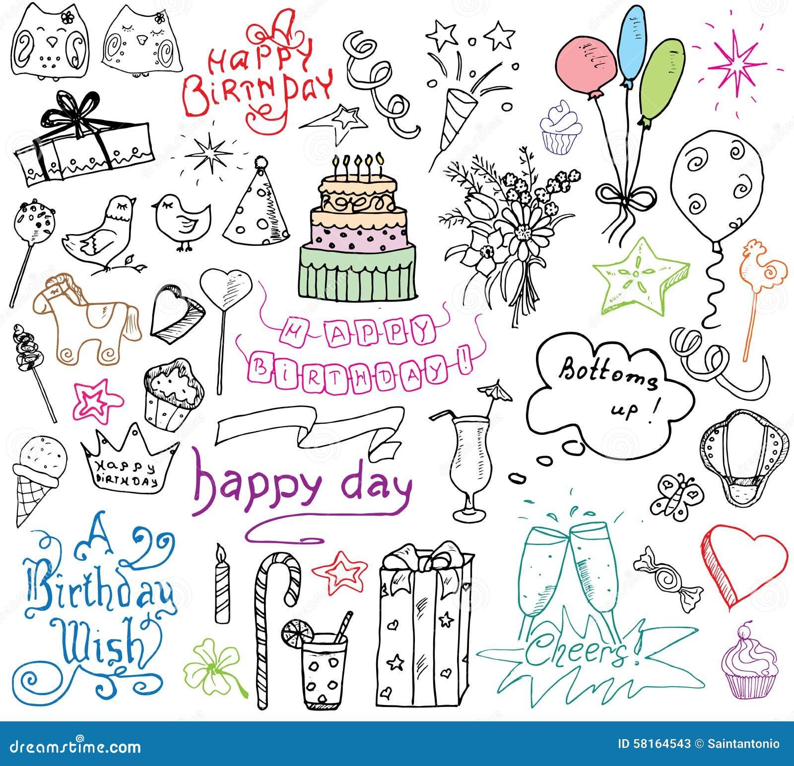 Birthday Elements Hand Drawn Set With Cake