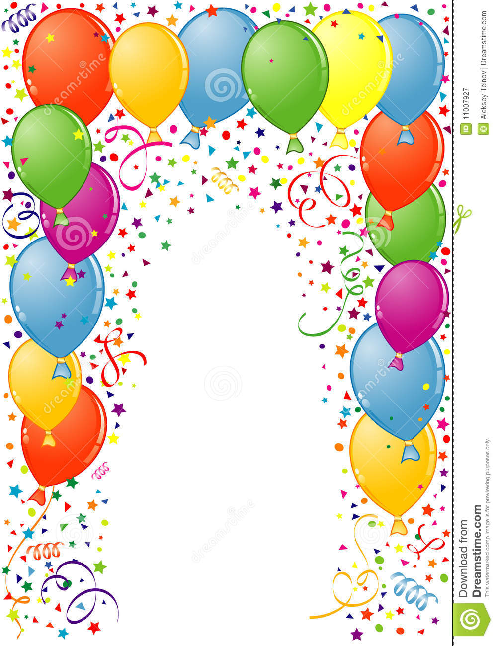 Birthday Frame with Balloon and streamer, element for design, vector ...