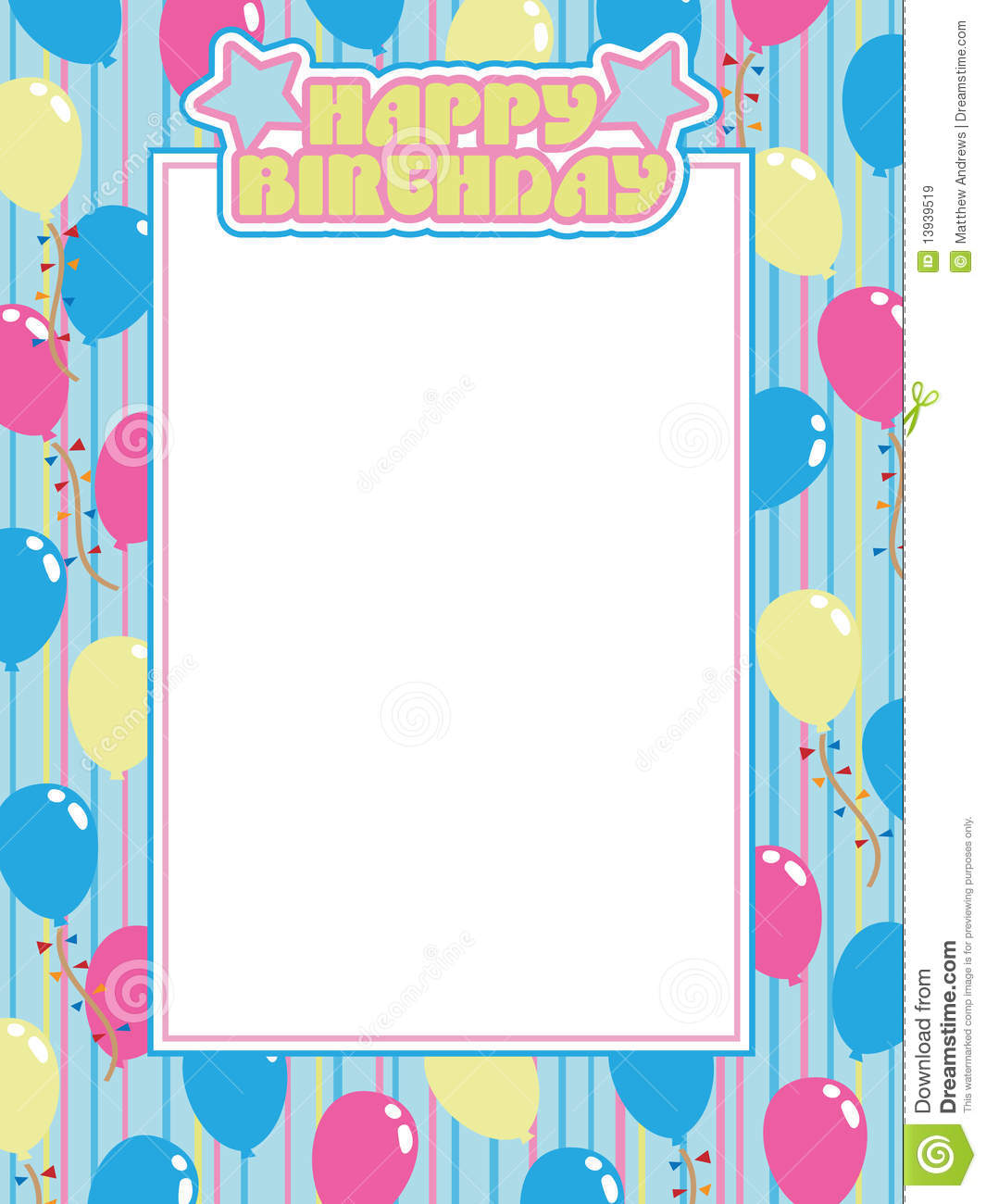 Birthday frame stock vector. Illustration of text, illustration ...