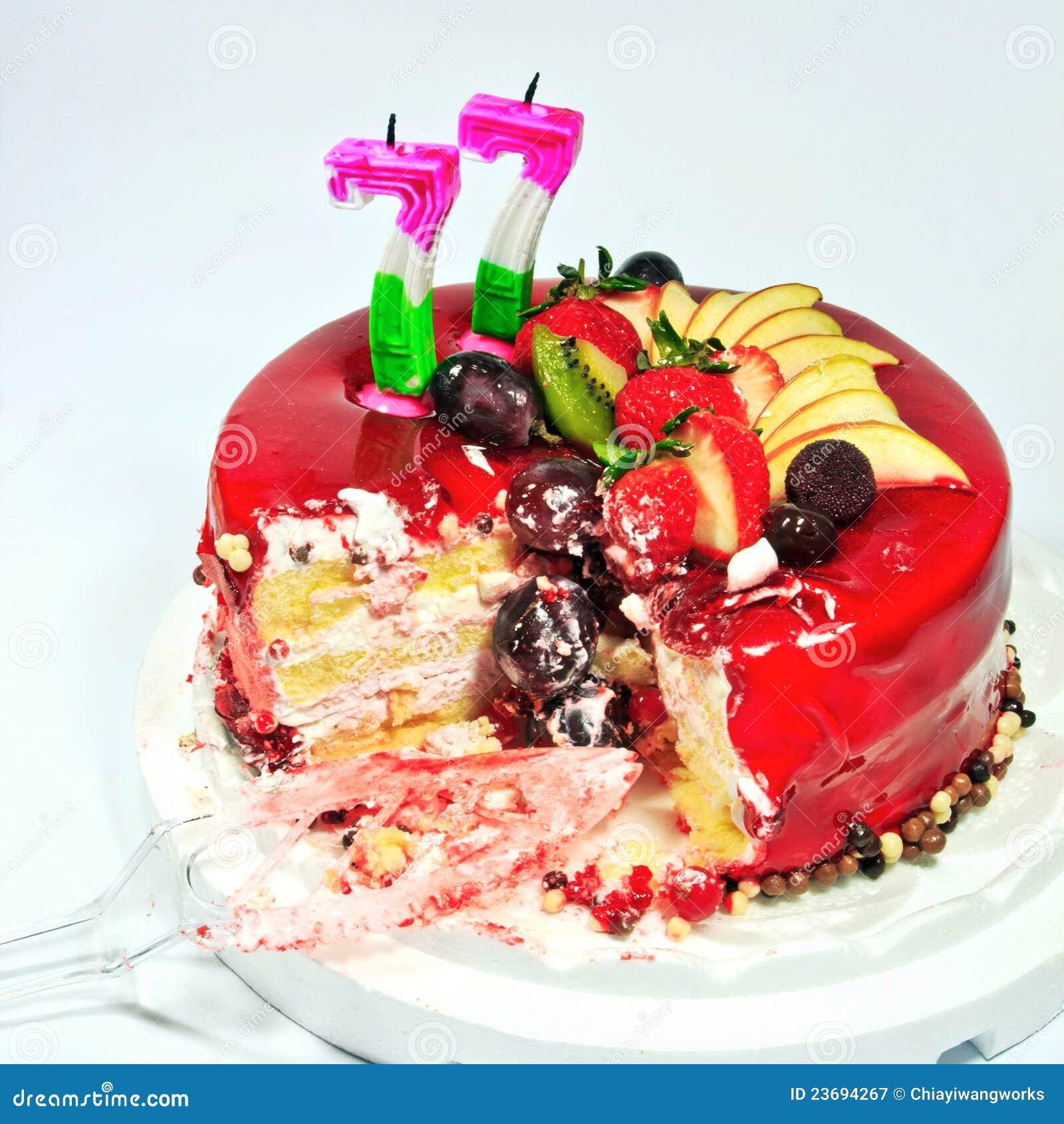 Birthday Fruit Cake Stock Image Image Of Colorful