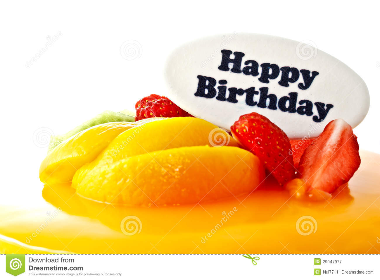 Happy Birthday Cookie On Strawberry Fresh Cream Cake Fruit White Background Royalty Free Stock Photography