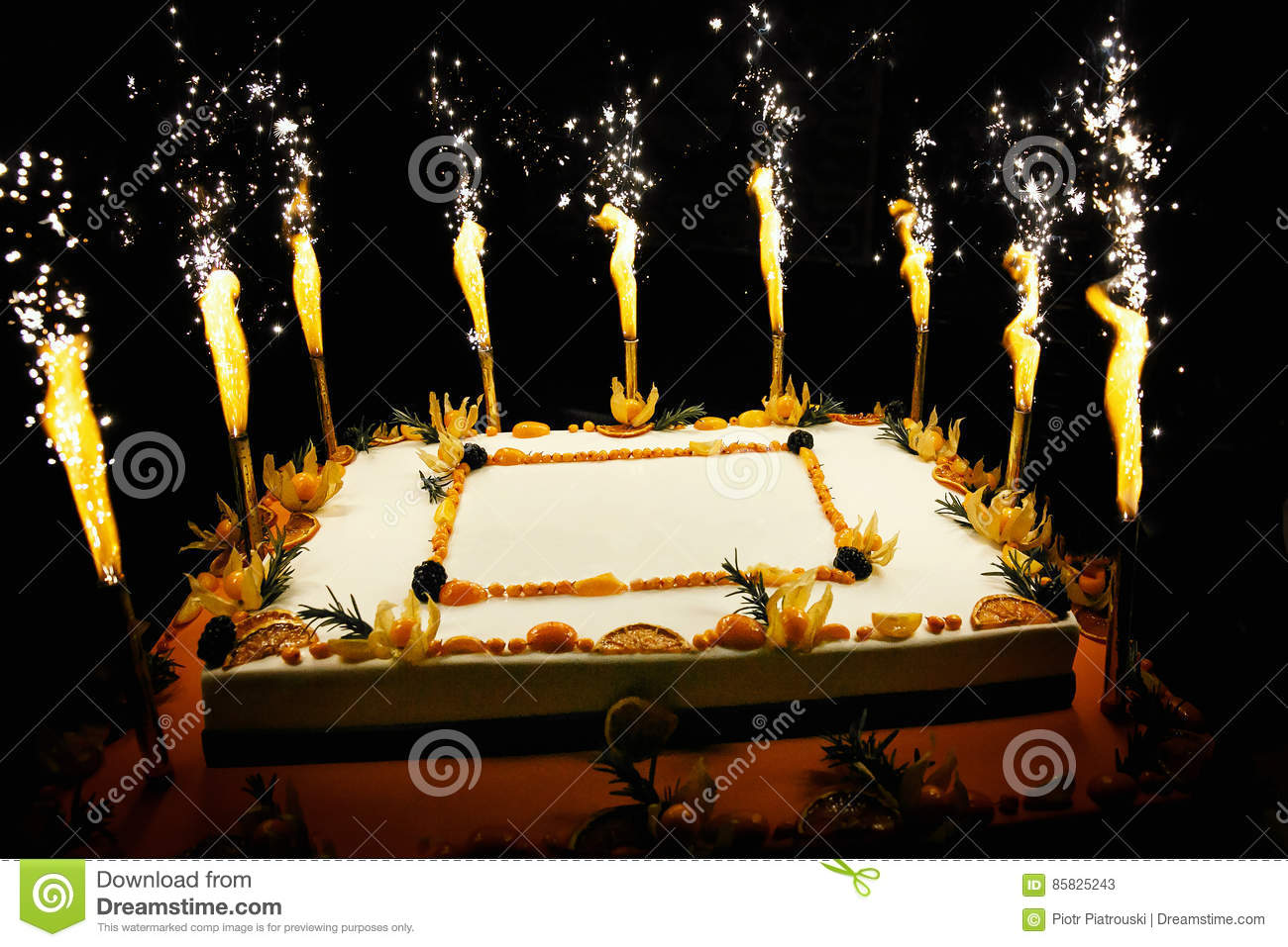 Birthday Fruit Cake With Fireworks Candles Stock Image Image Of