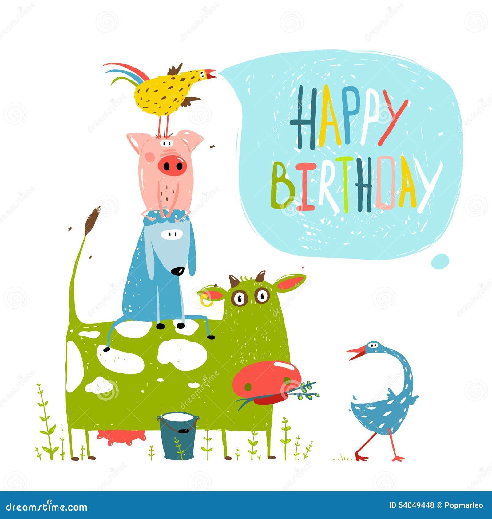 Happy birthday card with farm animals stock vector illustration of birthday fun cartoon farm animals pyramid greeting royalty free stock photos kristyandbryce Image collections