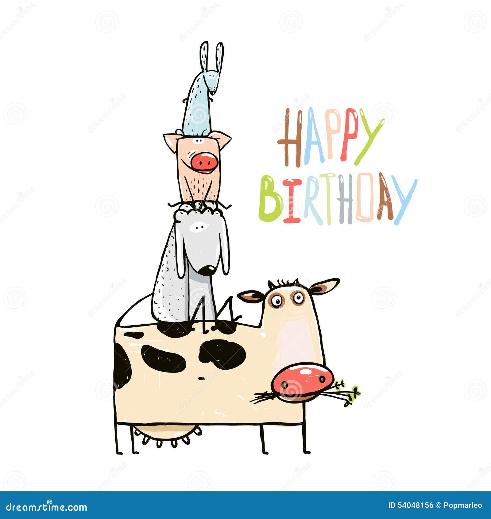 Birthday funny cartoon farm domestic animals stock vector birthday funny cartoon farm domestic animals kristyandbryce Image collections