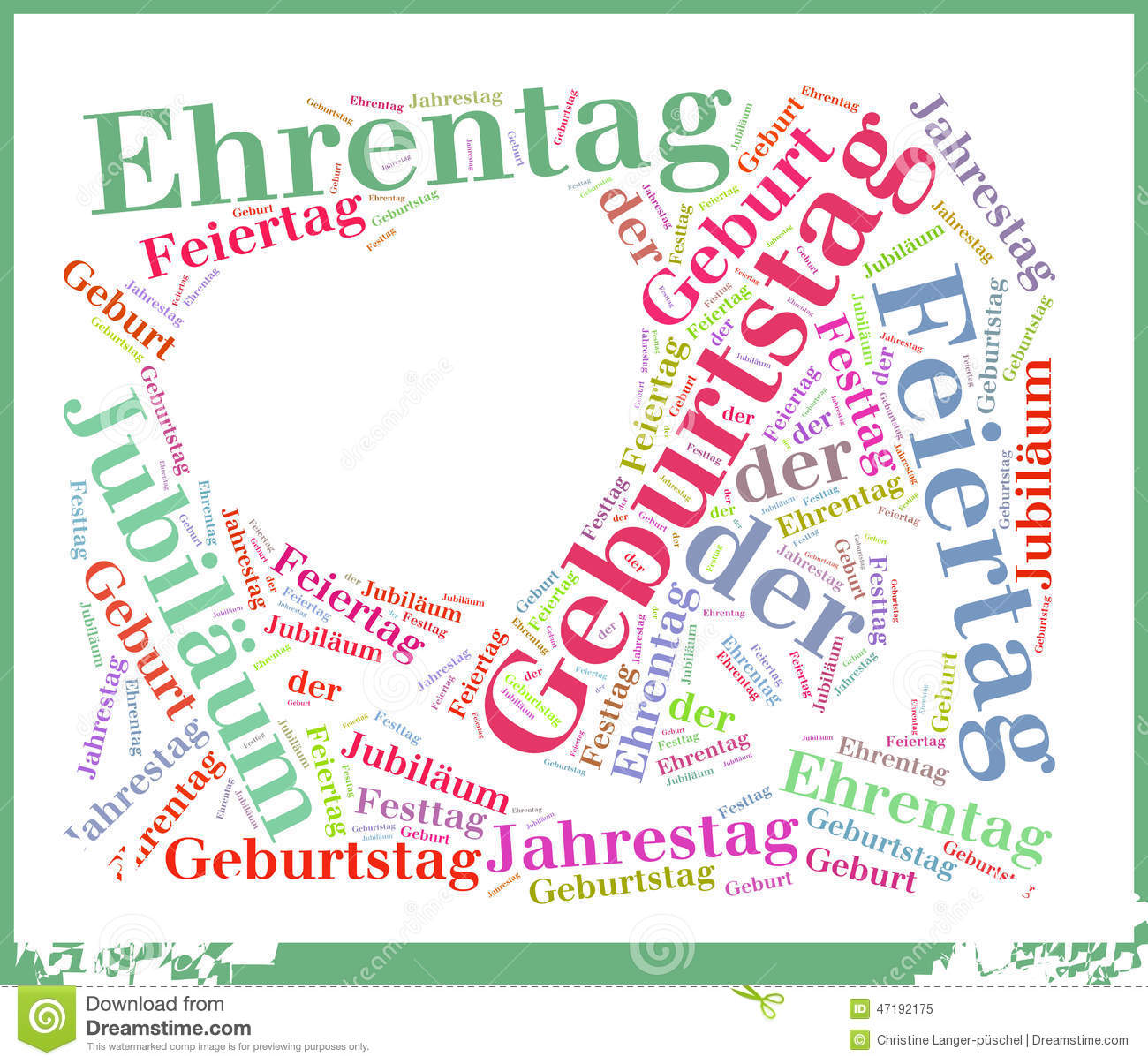 Birthday Or Geburtstag Word Cloud Concept Stock