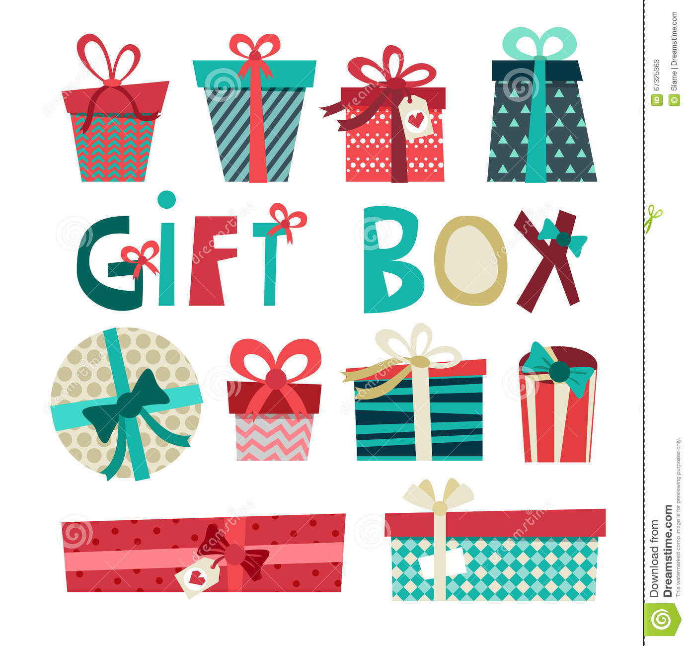 Birthday Gift Box Cartoon Vector Set Gift Wrapping With Ribbons